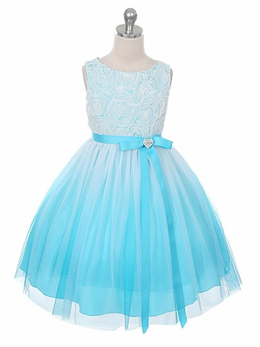 Aqua Ombre Dress w/ Rosette Bodice