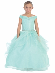 Aqua Organza Off The Shoulder Gown