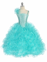 Aqua Ruffle Dress w/ Sparkle Bodice