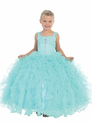 Aqua Ruffle Pageant Dress w/ Jeweled Bodice