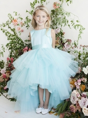 Aqua Ruffled Tulle High Low Dress
