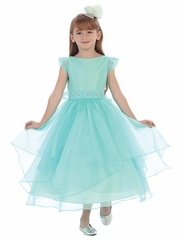 Aqua Satin Layered Organza Dress w/ Jeweled Cap Sleeve & Belt