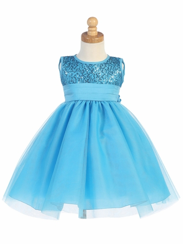 Aqua Sequins & Tulle Dress