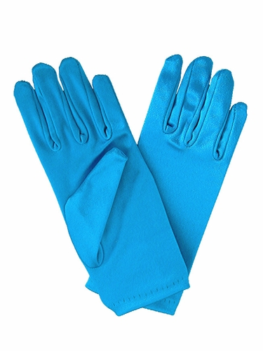 Aqua Short Satin Gloves