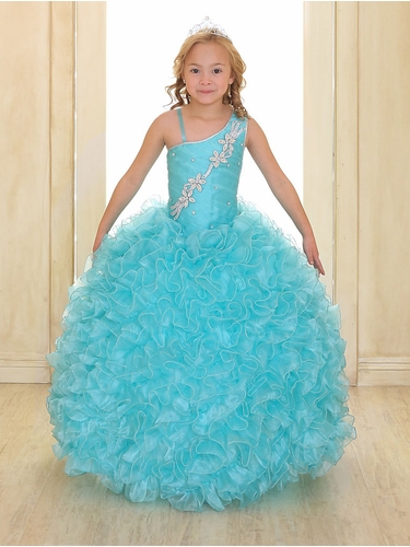 Aqua Single Shoulder Strap Pageant Gown