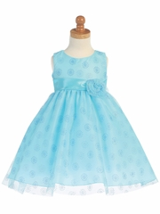 Aqua Sleeveless Tulle w/ Glitter Dress