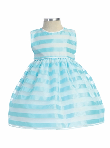 Aqua Stripe Organza Box Pleat Dress
