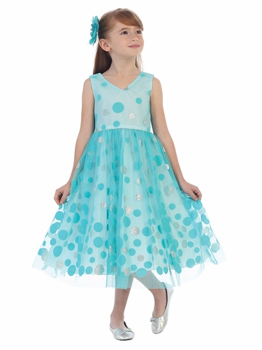 Aqua V-Neck Polka Dot Tulle Overlay Dress