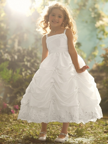 CLEARANCE - Ariel Inspired White Taffeta Dress w/ Re-embroidered Lace & Metallic Accents