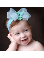 Baby Bling Aqua/Blue Mist Bow Headband