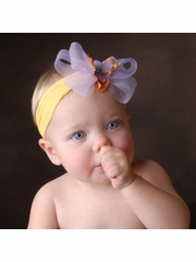 Baby Bling Golden/Light Orchid/Lilac Bow Headband
