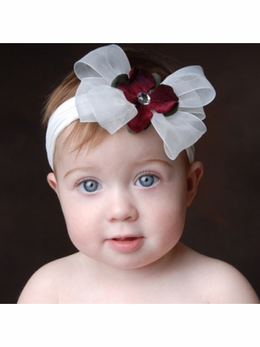 Baby Bling White/Red Bow Headband