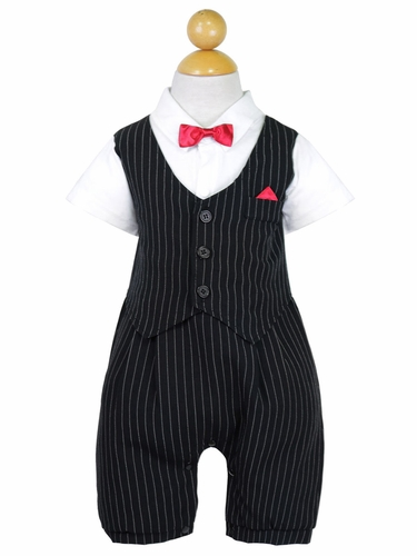 Baby Boy Black Stripe Gentleman Style Romper