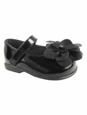 Baby Deer Black (Crawling Stage / First Step) Shoe w/ Chiffon Flower