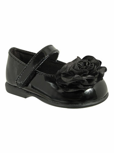 Baby Deer Black (Crawling Stage / First Step) Shoe w/ Rolled Flower