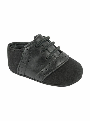 Baby Deer Boys Faux Suede w Black Saddle Lace Up Crawling