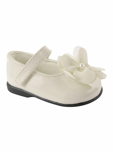 Baby Deer Ivory (Crawling Stage / First Step) Shoe w/ Chiffon Flower