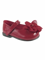Baby Deer Red (Crawling Stage / First Step) Shoe w/ Chiffon Flower