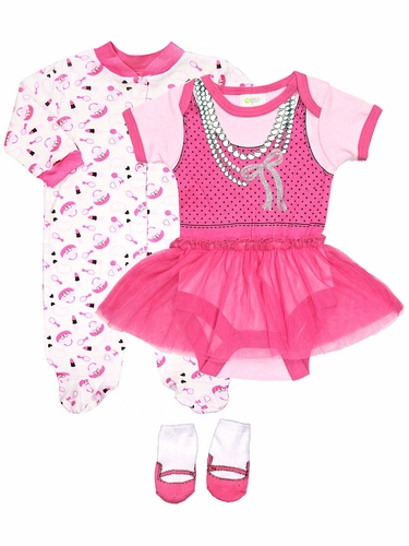 Baby Gear 3PC Makeup Dress Up Body Suit Sleeper & Socks set