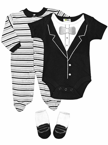 Baby Gear 3PC Striped Dress Up Body Suit Sleeper & Socks