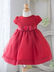 Baby Girl Red Vintage Charm Lace Dress