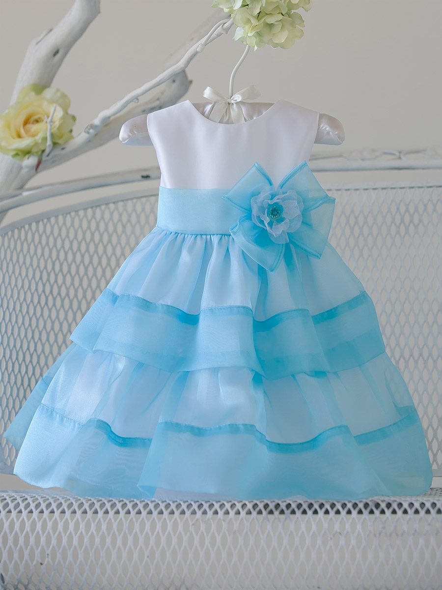 Girl Turquoise Organza Layered Dress w/ Flower