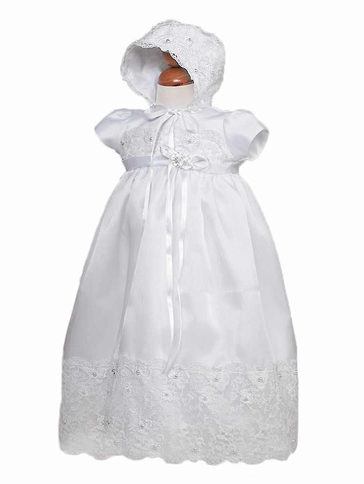 Baby Girl White Lace & Pearl Christening Gown w Bonnet