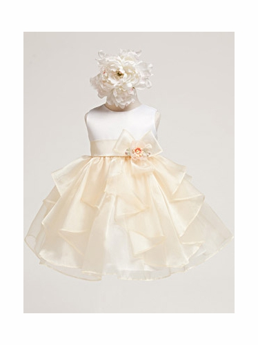 Banana Baby Girl Satin Bodice w/ banana Layered Organza Dress