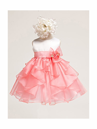 Coral White Baby Girl Satin Bodice w/ coral Layered Organza Dress