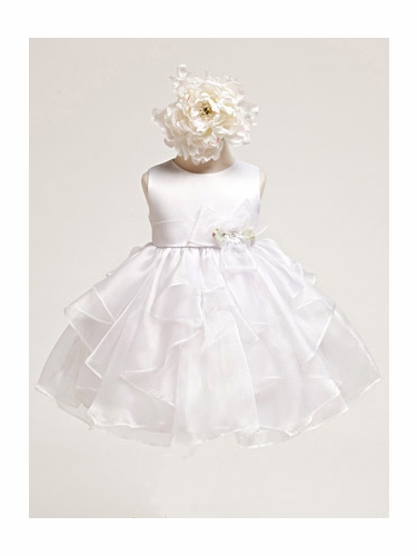 White Baby Girl Satin Bodice w/ white Layered Organza Dress