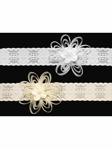 Baby Lace Headband w/ Beaded Satin Flower & Organza Ribbon