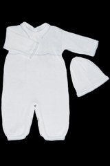 Baby's Trousseau 268 Boys White & Blue Collared Romper w/ Hat