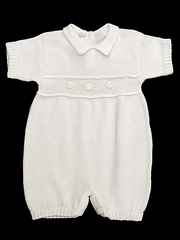 Baby's Trousseau Detail Knit Short Sleeve Romper