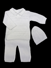 Baby's Trousseau 3 Piece Diamond V-Neck Sweater Set