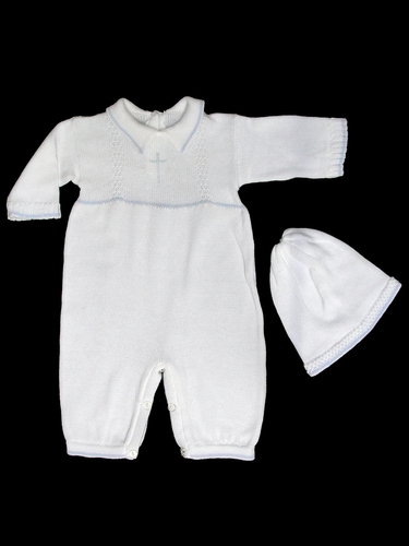 Baby's Trousseau Boys White & Blue Collared Romper w/ Cross