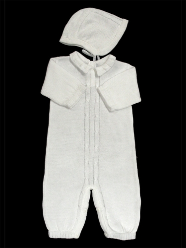 Baby's Trousseau Full Body Detail Romper w/ Hat