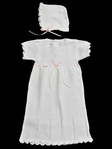 Baby's Trousseau Girls White Knit Gown & Bonnet w/ Pink Ribbon
