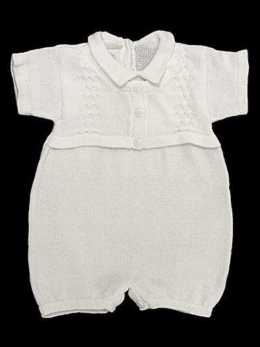 Baby's Trousseau Short Sleeve 3 Button Mock Sweater Knit Romper