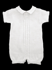 CLEARANCE - Baby's Trousseau Short Sleeve Double Cable Knit Romper