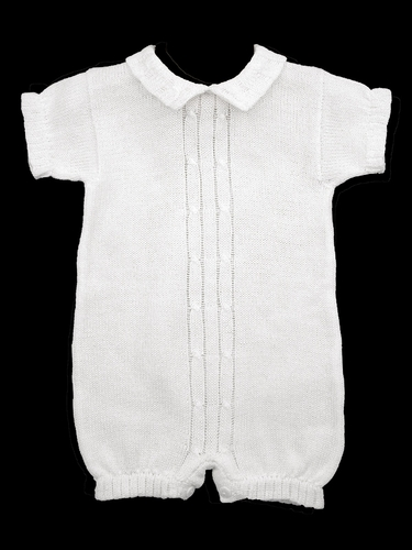 Baby's Trousseau Short Sleeve Double Cable Knit Romper