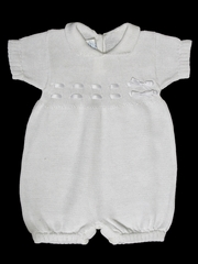 Baby's Trousseau Short Sleeve Ribbon Knit Romper