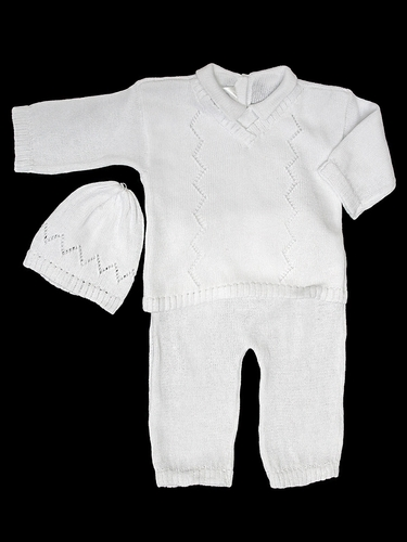 Baby's Trousseau Unisex 3PC Knit Long Sleeve V-Neck Set