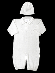 Baby's Trousseau Unisex Detailed Knit Romper w/ Hat