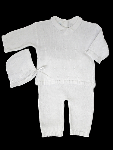 Baby's Trousseau Unisex Long Sleeve Detailed Knit w/ Hat Set