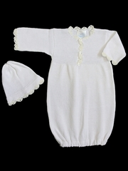 Baby's Trousseau White Christening Bunting Gown & Hat