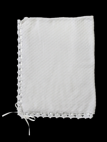 Baby's Trousseau White Christening Ribbon Shawl