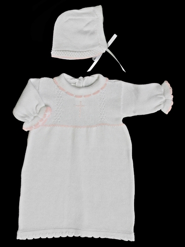 Baby's Trousseau White Gown w/ Pink Cross Detailing & Hat