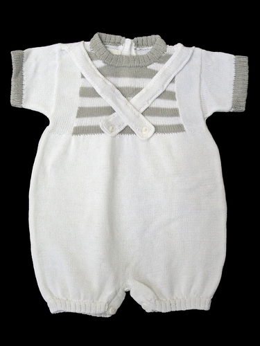 Baby's Trousseau White & Grey Criss Cross Romper