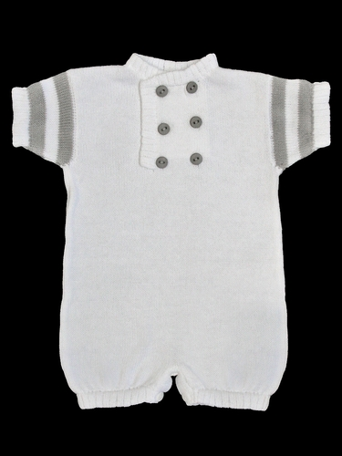 Baby's Trousseau White & Grey Knit Double Button Romper