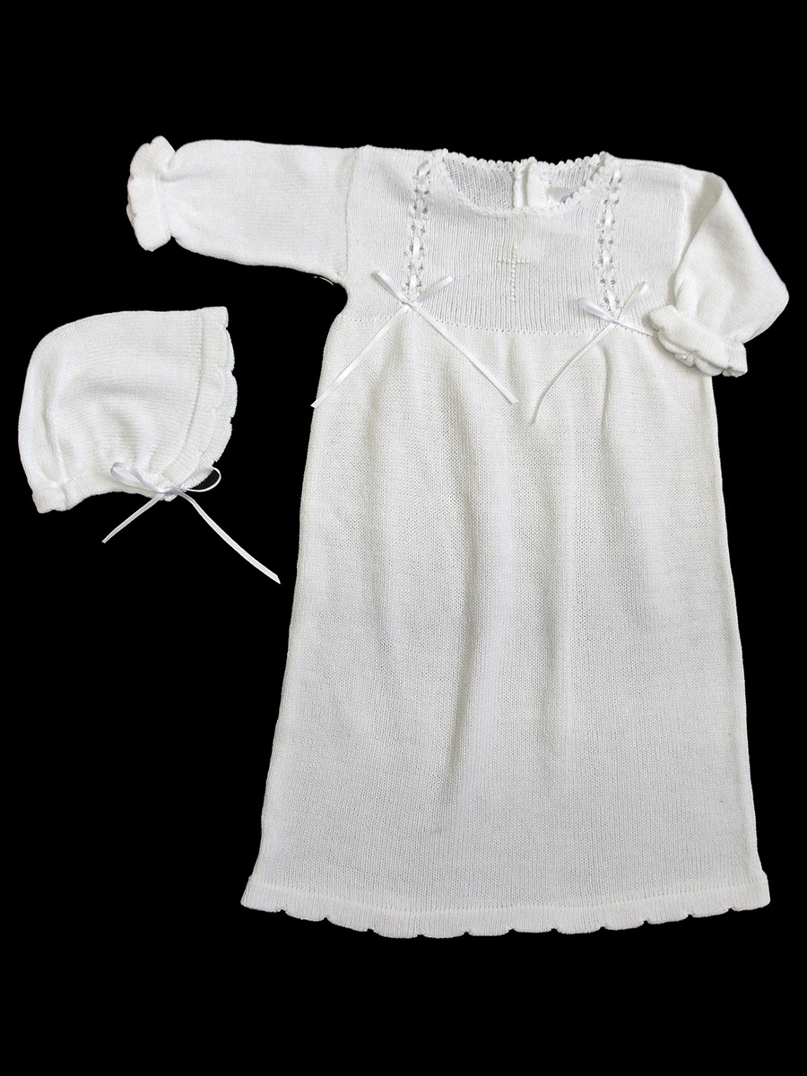 Baby\'s Trousseau White Knit Christening Gown w/ Bonnet